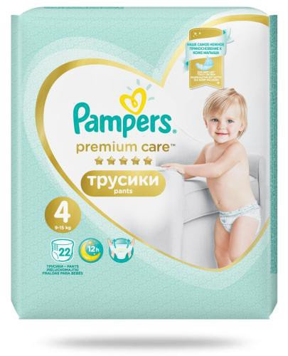 Pampers Premium Care Pants 4 pieluchomajtki 9-15 kg 22 sztuki  whited-out