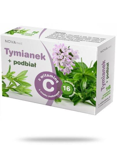 NovaMed Tymianek i podbiał z witaminą C smak malinowy 16 pastylek