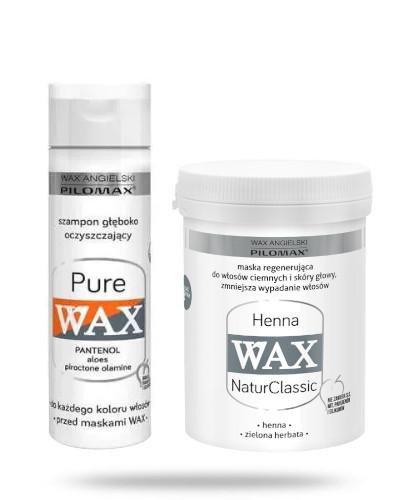 Pilomax Wax NaturClassic Henna maska regenerująca do włosów ciemnych 480 ml + Wax Pure ...