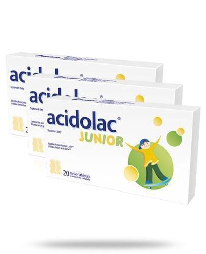 Acidolac Junior o smaku białej czekolady 3x 20 misio-tabletek [TRÓJPAK]