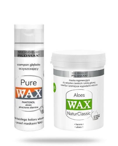 Pilomax Wax Aloes maska regenerująca do włosów cienkich 480 ml + Wax Pure szampon 200 m...