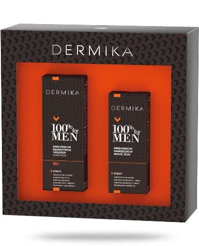 Dermika 100% For Men 50+ zestaw krem przeciw zmarszczkom i bruzdom na dzień i na noc 50 m...
