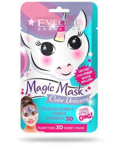 Eveline Magic Mask oczyszczająca maska w płacie 3D Cute Unicorn 1 sztuka
