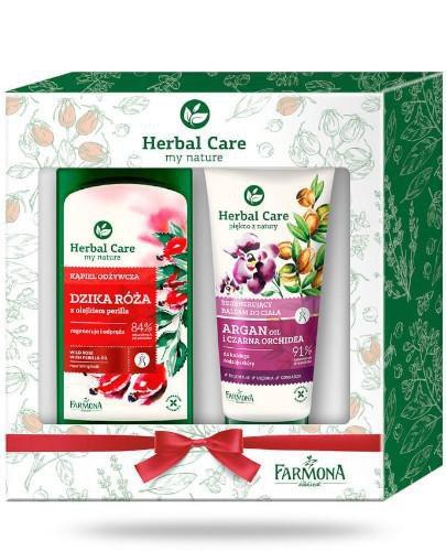 Farmona Herbal Care płyn do kąpieli dzika róża z olejkiem perilla 500 ml + balsam do c...