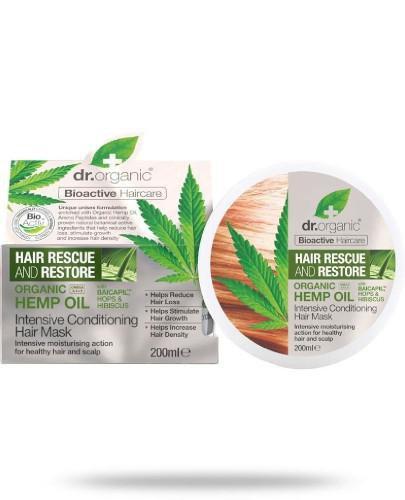 Dr.Organic Hemp Oil maska do włosów z organicznym olejem z konopi siewnych 200 ml