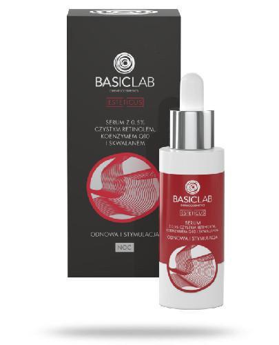 BasicLab Esteticus Odnowa i stymulacja serum z 0.5% czystym retinolem, koenzymem Q10 i skw...