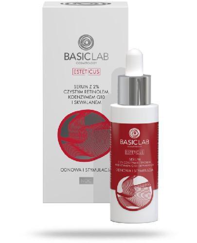 BasicLab Esteticus Odnowa i stymulacja serum z 2% czystym retinolem, koenzymem Q10 i skwal...