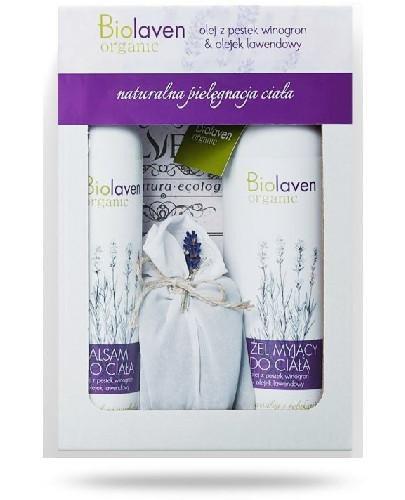 Biolaven Organic balsam do ciała 300 ml + żel myjący do ciała 300 ml + woreczek z lawe...