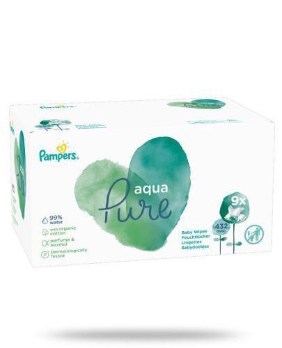 Pampers Aqua Pure chusteczki nawilżane dla niemowląt 9x 48 sztuk