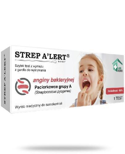 LabHome Strep Alert test z wymazu z gardła do wykrywania anginy bakteryjnej 1 test