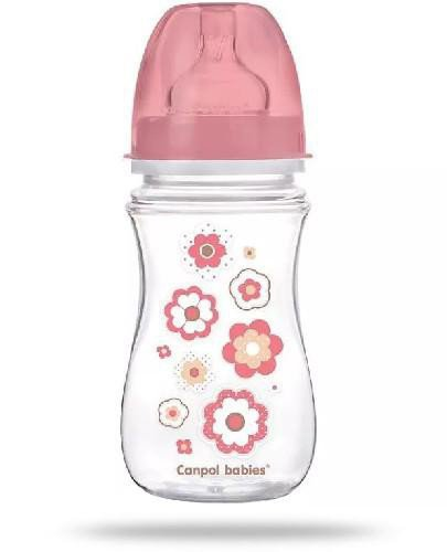 Canpol Babies EasyStart butelka szerokootworowa antykolkowa różowa 240 ml [35/217_pin]