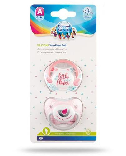 Canpol Babies zestaw smoczków silikonowych 0-6m różowe 2 sztuki [23/951_pin]