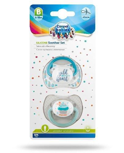 Canpol Babies zestaw smoczków silikonowych 6-18m szary 2 sztuki [23/955_grey]