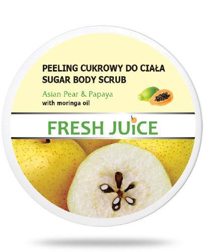Fresh Juice Peeling cukrowy do ciała Asian Pear & Papaya z olejem moringa 225 ml