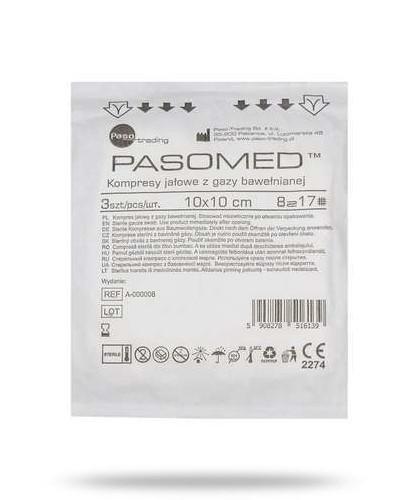 PasoMed kompresy opatrunkowe jałowe z gazy bawełnianej 17 nitek 8 warstw 10x 10cm 5 sztu...