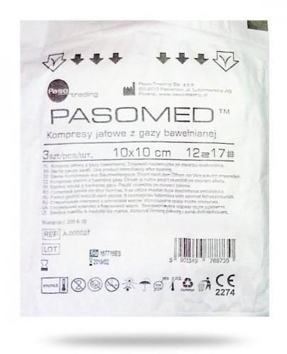PasoMed kompresy niejałowe z gazy bawełnianej 17 nitkowe 12 warstw 10 x 10cm 3 sztuki