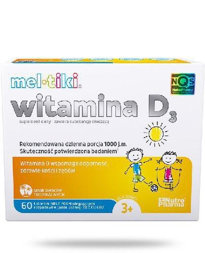 Meltiki Witamina D3 smak tropikalny 60 tabletek