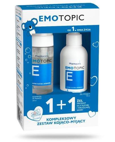 Pharmaceris E Emotopic Szampon nawilżający w piance 200 ml + Żel myjący 190 ml [ZESTA...