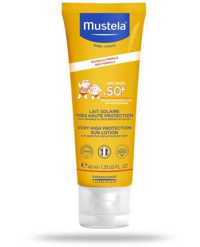 Mustela Sun mleczko przeciwsłoneczne do twarzy SPF50+ 40 ml [NOWA FORMUŁA]