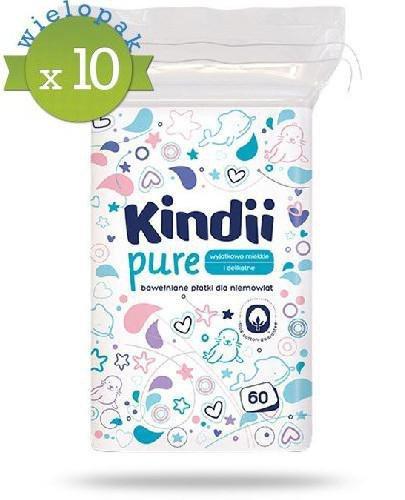 Kindii Pure miękkie bawełniane płatki dla niemowląt 10x 60 sztuk [Baby Sensitive, Cleanic Kindii] [WIELOPAK] + Nożyczki dla dzieci Canpol [GRATIS]