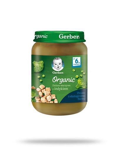 Nestlé Gerber Organic zielone warzywa z indykiem po 6 miesiącu 190 g