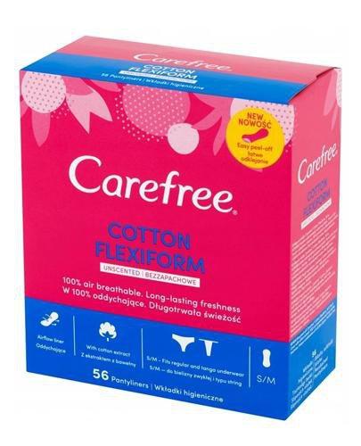 Carefree Cotton FlexiForm bezzapachowe wkładki higieniczne 56 sztuk