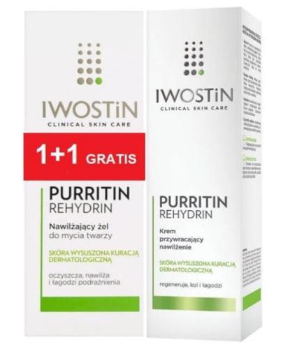 Iwostin Purritin Rehydrin krem przywracający nawilżenie 40 ml + żel do mycia twarz...