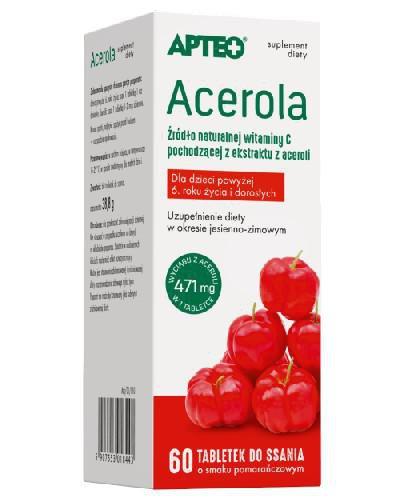 Apteo Acerola 60 tabletek do ssania o smaku pomarańczowym