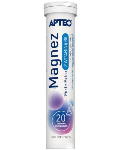 Apteo Magnez Forte Extra z witaminą B6 o smaku cytrynowym 20 tabletek musujących