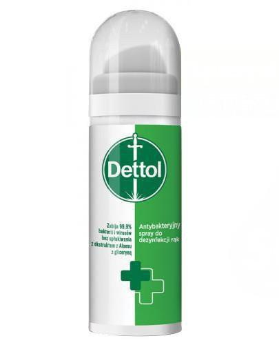 Dettol Antybakteryjny spray do dezynfekcji rąk 50 ml + ZAWIESZKA