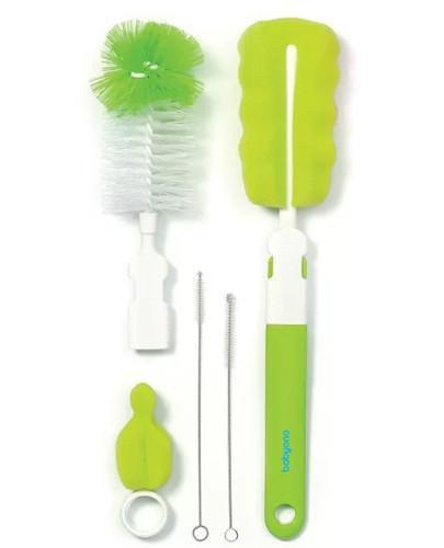 BabyOno zestaw szczotek do butelek i smoczków z wymienną rączką z mini gąbką zielon...