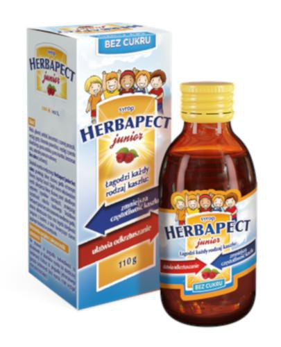 Herbapect Junior syrop na kaszel o smaku malinowym dla dzieci bez cukru 110 g