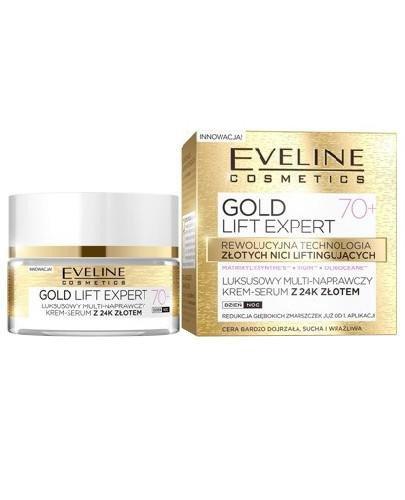 Eveline Gold Lift Expert multi-naprawczy krem-serum z 24k złotem 70+ 50 ml