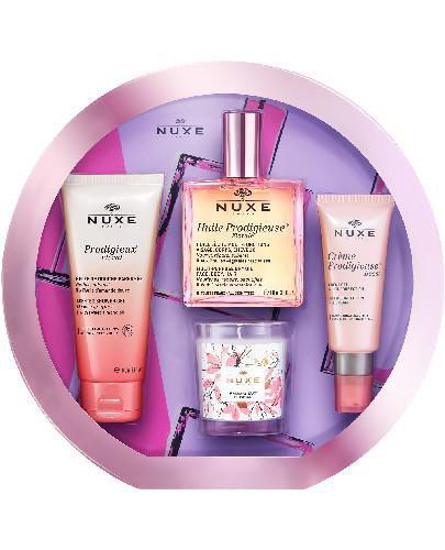 Nuxe zestaw z suchym olejkiem Huile Prodigieuse Florale 3 produkty + świeca zapachowa [ZE...
