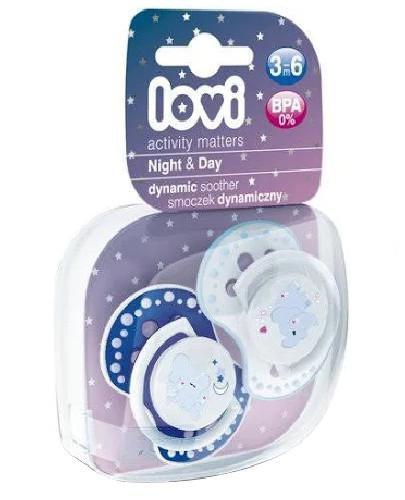 Lovi Night&Day dynamiczny smoczek silikonowy dla dzieci 3-6mc 2 sztuki [22/810boy_E]