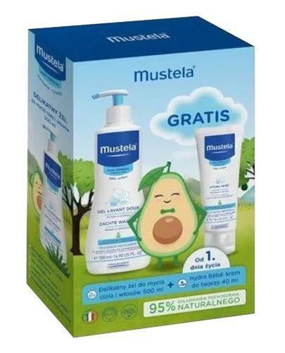 Mustela Bebe Enfant delikatny żel do mycia włosów i ciała 500 ml + Hydra krem do twarz...