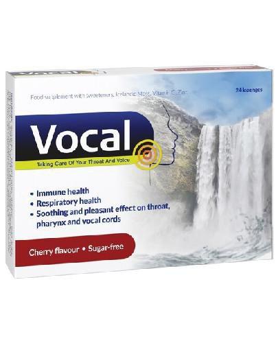 Vocal wiśnia pastylki do ssania miękkie 24 sztuki