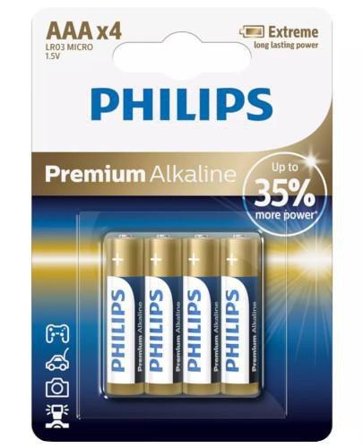 Philips Premium Alkaline baterie alkaliczne AAA 4 sztuki [LR03M4B/10]  whited-out
