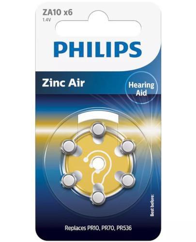 Philips Zinc Air baterie do aparatów słuchowych 6 sztuk [ZA10B6A/00]  whited-out