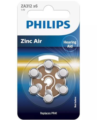 Philips Zinc Air baterie do aparatów słuchowych 6 sztuk [ZA312B6A/00]  whited-out