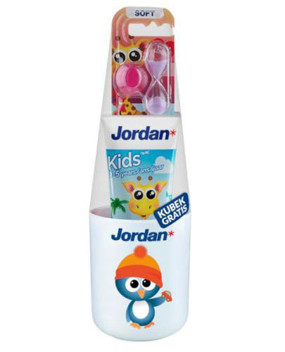Jordan Kids pasta dla dzieci 0-5 lat 50 ml + szczoteczka + kubek [ZESTAW]