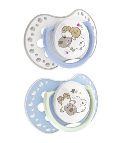 Lovi Night&Day dynamiczny smoczek silikonowy dla dzieci 0-3mc 2 sztuki [22/809boy_L]