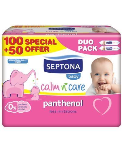 Septona Baby chusteczki nawilżane dla dzieci i niemowląt z panthenolem 2 x 75 sztuk [DWU...