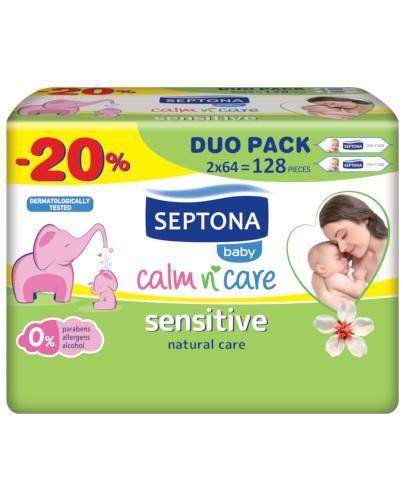 Septona Baby Sensitive chusteczki nawilżane dla dzieci i niemowląt 2 x 64 sztuki [DWUPA...