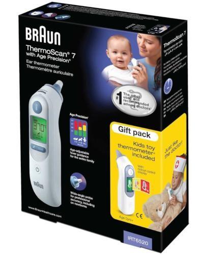 Braun Thermoscan 7 IRT6520 termometr elektroniczny do ucha + termometr zabawka dla dziec...