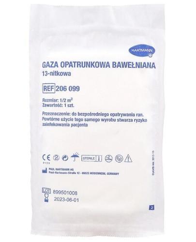 Hartmann Gaza opatrunkowa bawełniana jałowa 13 nitkowa 1/2m.kw 1 sztuka