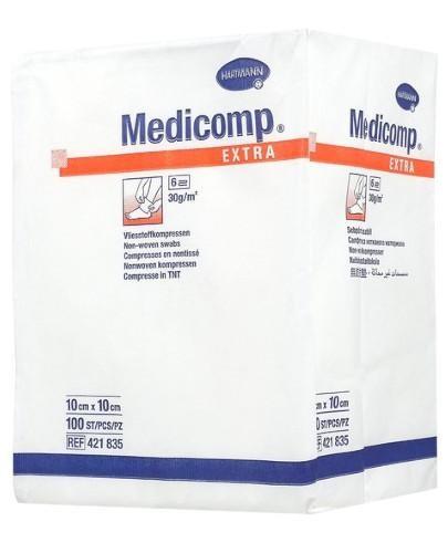 Hartmann Medicomp Extra kompresy niejałowe z włókniny 6 warstwowe 10cm x 10cm 100 sztuk