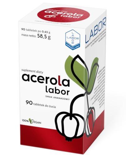 Acerola Labor o smaku ananasowym 90 tabletek do żucia