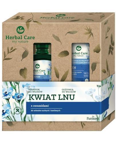 Farmona Herbal Care Kwiat Lnu szampon do włosów 330 ml + odżywka 200 ml [ZESTAW]