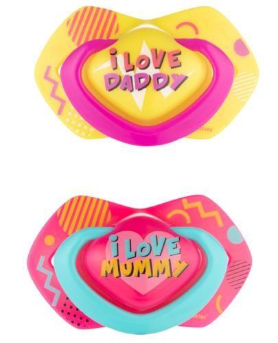 Canpol Babies smoczek silikonowy symetryczny Neon Love 0-6m różowy 2 sztuki [22/652_pin]